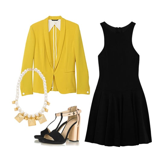 Perk up an LBD by topping it with a bright yellow blazer; we love this Rag & Bone piece. A mixed-stone necklace breaks up the stark contrast, while black-and-nude heels add structure.  Rag & Bone Sliver Tuxedo ($345, originally $495) Tibi Gemma Stretch-Jersey Dress ($200, originally $400) Reed Krakoff Suede, Leather, and Acetate Sandals ($750) Fallon Jewelry Stud & Pearl Station Necklace ($215)