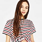 Bershka Ecologically Grown Cotton T-Shirt With Front Knot