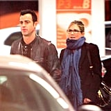 Jennifer Aniston and Justin Theroux caught a movie.