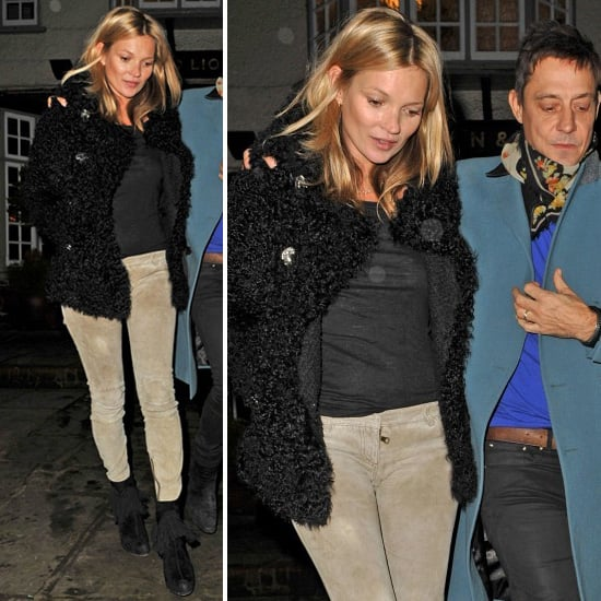 Kate Moss Wearing Suede Pants on Her Birthday