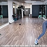 With your torso rotated and standing knee slightly bent, stretch your other leg out and bring it back in, bending your knee this time. Then, repeat the last three moves for your other leg.