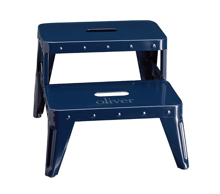 Personalized Metal Step Stool Blue Baby Shower Gifts