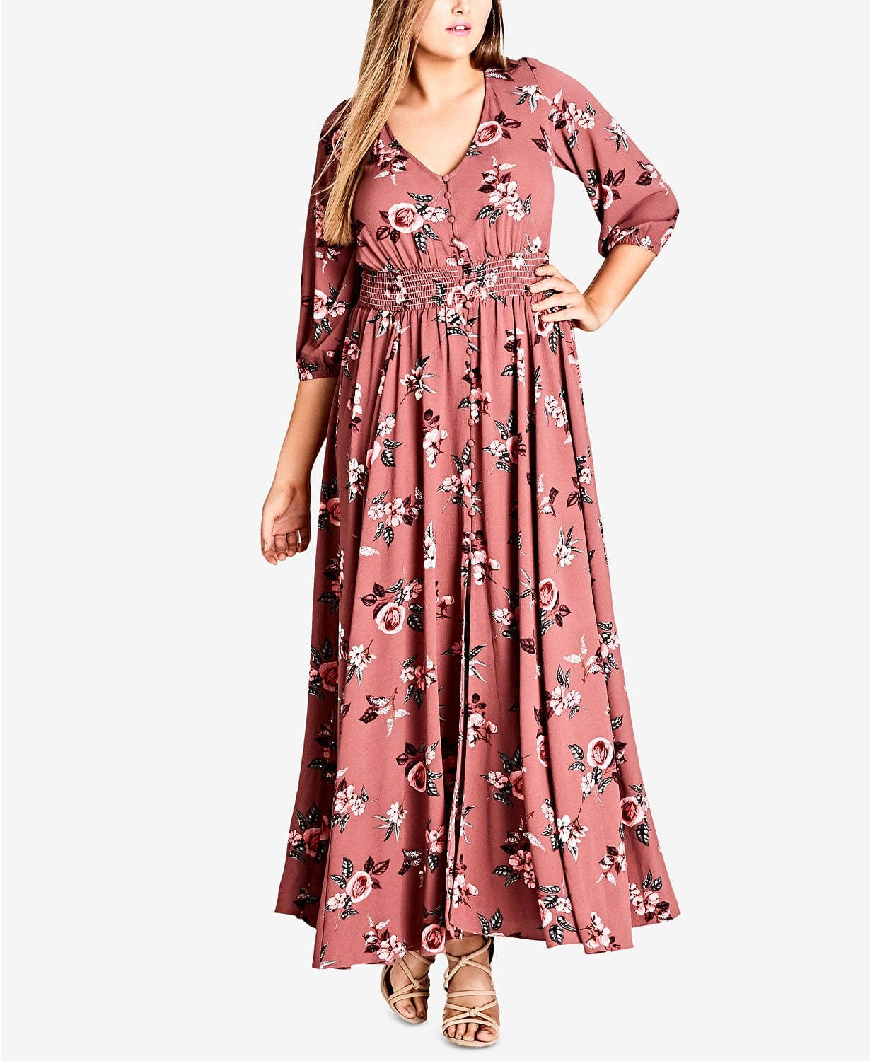 City Chic Trendy Plus Size Floral-Print Maxi Dress | Hold Up ...