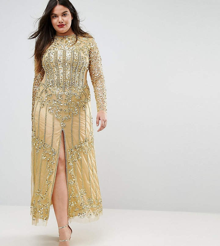 4ac40640145 A Star Is Born Plus Embellished Baroque Maxi Dress With Front Split ...