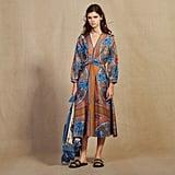 Sandro Long Printed Silk Dress