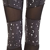 Black Star and Moon Mesh-Insert Capri Leggings
