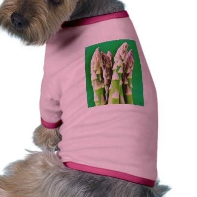 Fresh Asparagus On Green Background Doggie Tee Shirt ($22)