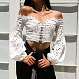 Challyhope Off-Shoulder Crochet Top