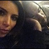 Kim Kardashian snapped a pic of Kanye West while he was sleeping on an airplane. Source: Instagram user kimkardashian