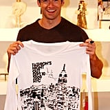 Hugh Jackman showed off the official FNO t-shirt during an event at Jeffrey New York in 2009.