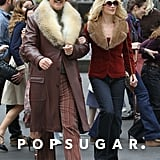 Will Ferrell and Christina Applegate wore retro garb to film for Anchorman: The Legend Continues in NYC.