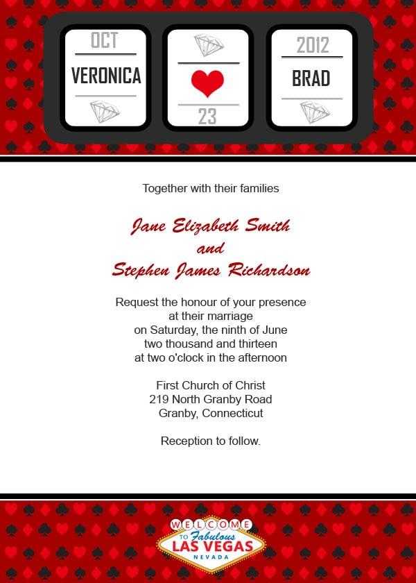 Vegas Wedding Invitation Free Printable Wedding Invitations