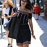 Jordana Brewster Shopping in a Tory Burch Embroidered Off-the-Shoulder Dress