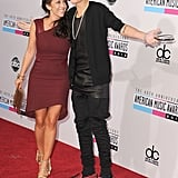 Justin Bieber was accompanied by his mom on the red carpet.