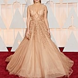 Jennifer Lopez Wearing Elie Saab to the 2015 Academy Awards