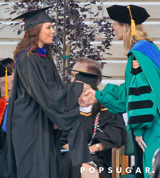 Eva Longoria wore a cap and gown for her graduation form California State University, Northridge.