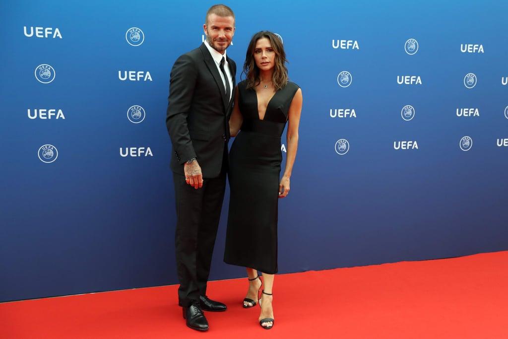 David and Victoria Beckham at UEFA Champions League Photos