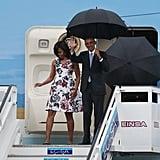 When Michelle Stepped Off the Plane in a Carolina Herrera Dress