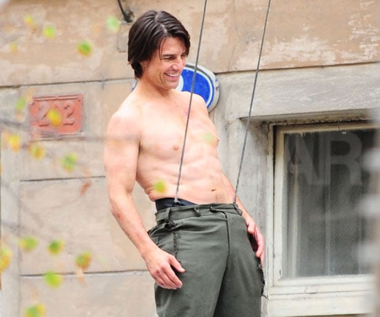 Slide Picture of Tom Cruise Doing Stunts Shirtless For Mission Impossible 4
