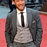 Jude Law looked excited on the red carpet.
