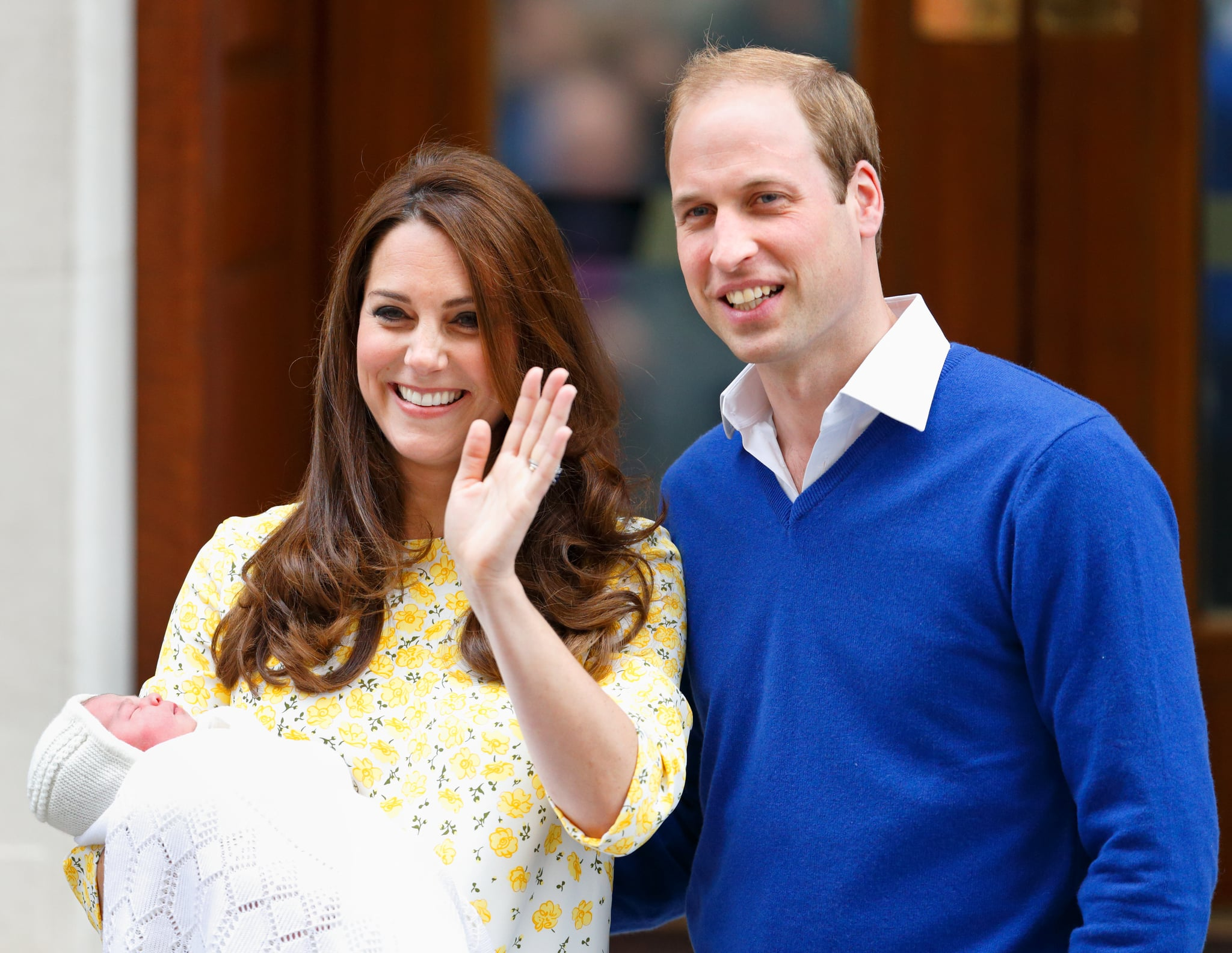 LONDON, UNITED KINGDOM - MAY 02: (EMBARGOED FOR PUBLICATION IN UK NEWSPAPERS UNTIL 48 HOURS AFTER CREATE DATE AND TIME) Catherine, Duchess of Cambridge and Prince William, Duke of Cambridge leave the Lindo Wing with their newborn daughter at St Mary's Hospital on May 2, 2015 in London, England. The Duchess safely delivered a daughter at 8:34am this morning, weighing 8lbs 3 oz who will be fourth in line to the throne. (Photo by Max Mumby/Indigo/Getty Images)