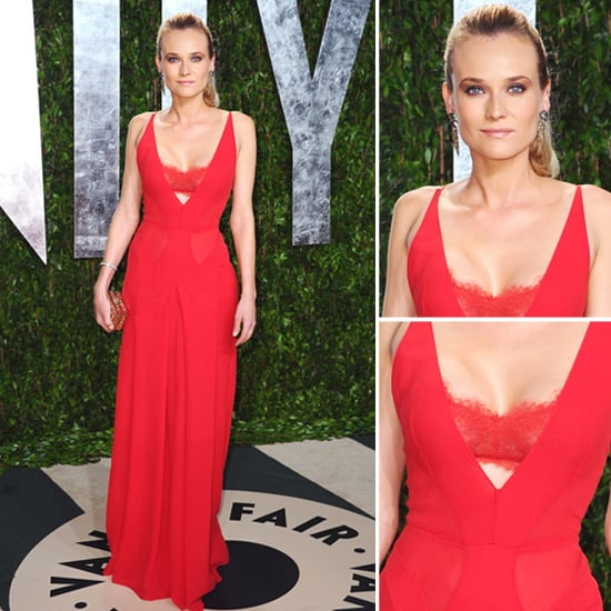 Diane Kruger Red Plunging Dress at Oscars Afterparty 2012