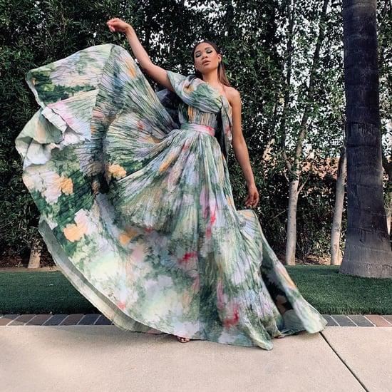 Storm Reid's Rosie Assoulin Brushstroke Golden Globes Gown