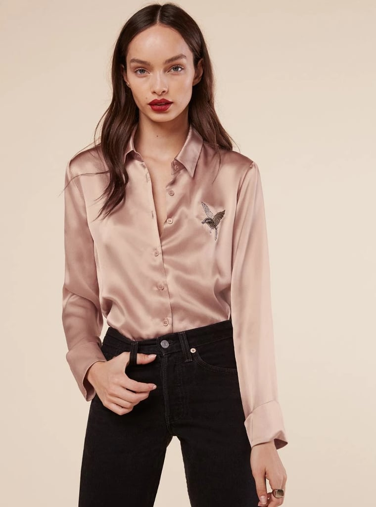 44596d0a06 Delicate and playful, I love Reformation's Embroidered Silk Shirt ...
