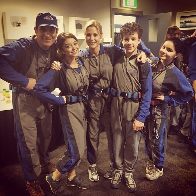 """""""Our new family uniform. Little different from the Von Trapps but still fashionable,"""" Sarah Hyland wrote to accompany this picture of the Dunphy family dressed in their Sydney Harbour Bridge climb gear. Source: Instagram user therealsarahhyland"""