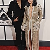 Kim Kardashian and Kanye West at the Grammy Awards in 2015