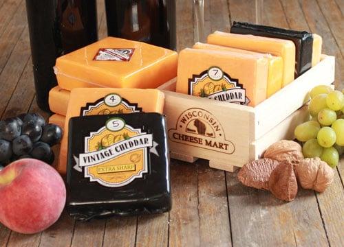 Wisconsin Cheddar Flight Gift Crate & Wisconsin Cheddar Flight Gift Crate | Food Gift Basket Ideas ...