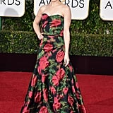 Rachel wore a floral Lanvin gown with a sweetheart neckline to the Golden Globe Awards.