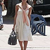 Eva Mendes showed off her flawless Summer style formula in a feminine dress and espadrilles.