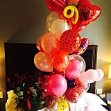 Miley Cyrus woke up to a plethora of balloons and red roses.