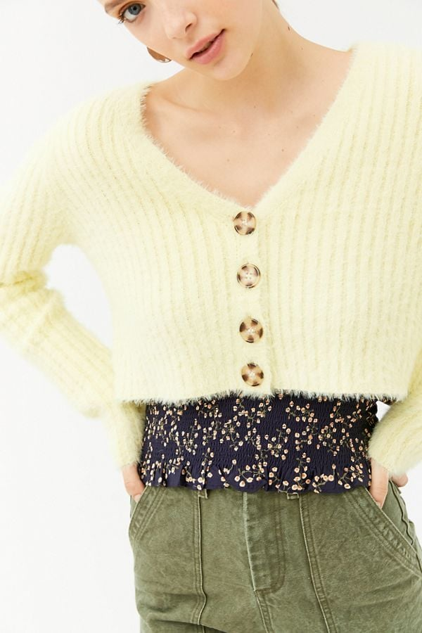 Urban Outfitters Rochelle Fuzzy Cropped Cardigan