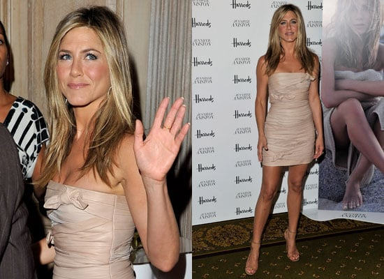 Jennifer Aniston Promoting Her New Scent Jennifer Aniston at Harrod's