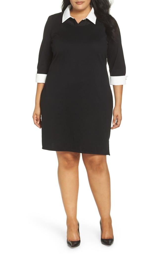 Ming Wang Contrast Collar Knit Dress