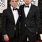 Leo and fellow best actor nominee Oscar Isaac were friendly enough for a photo.
