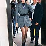 Bella Hadid Headed to a Show in a Fendi Blazer That She Wore as a Dress