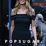 Heidi Klum looked svelte in a black dress on Friday in NYC.