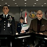 Harry Lennix and Richard Schiff in Man of Steel.