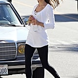 Alessandra Ambrosio crossed a street during the shoot.