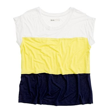 If you're timid about trying colorblock, this tee is your starter piece.  Madewell Bikepath Tee ($42)