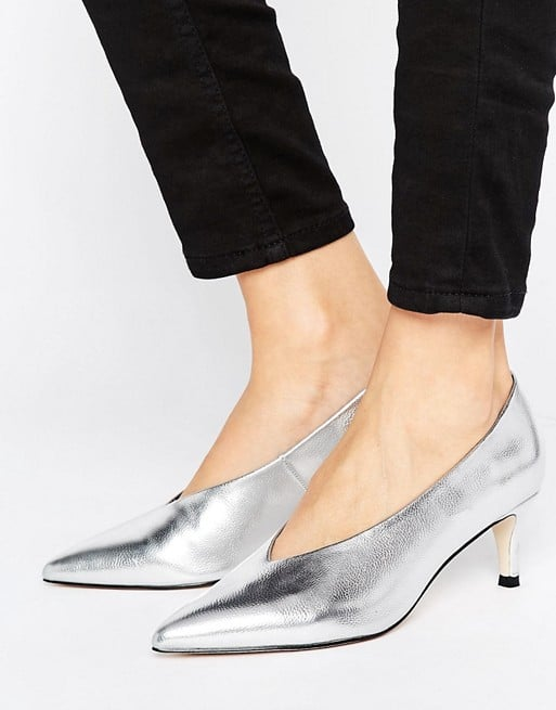 Asos's Suzie Pointed Kitten Heels ($38) offer a flash of metallic silver.