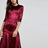 Club L Crushed Velvet Peplum Hem Midi Dress