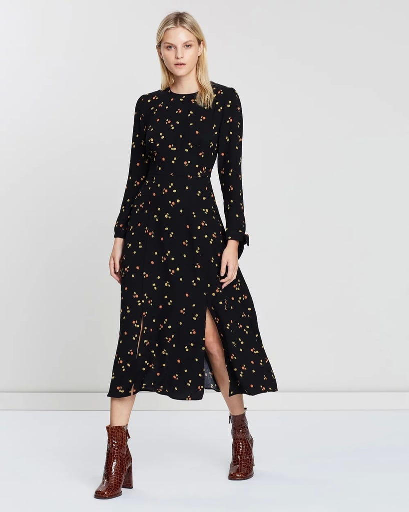 Whistles Micro Floral Print Tie Cuff Dress