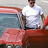 Tom Cruise wore a tight, white t-shirt.