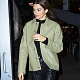 Kendall Jenner Wearing Leather For Dinner in NYC