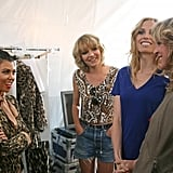 Kourtney Kardashian took a moment to chat with the girls before their runway show.  Photo courtesy of CW