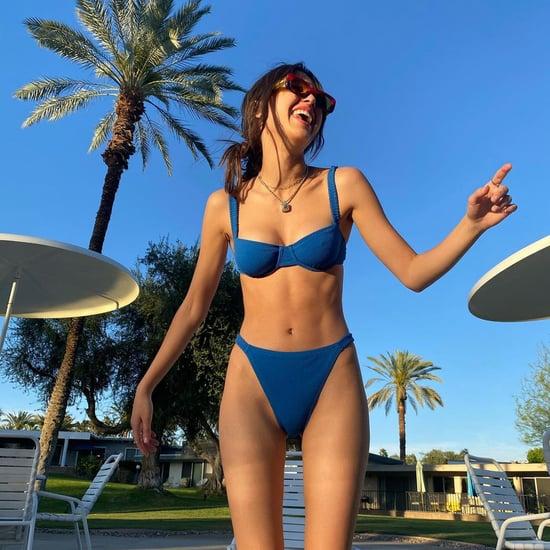 Olivia Rodrigo Wears Blue Peony Swimwear Bikini